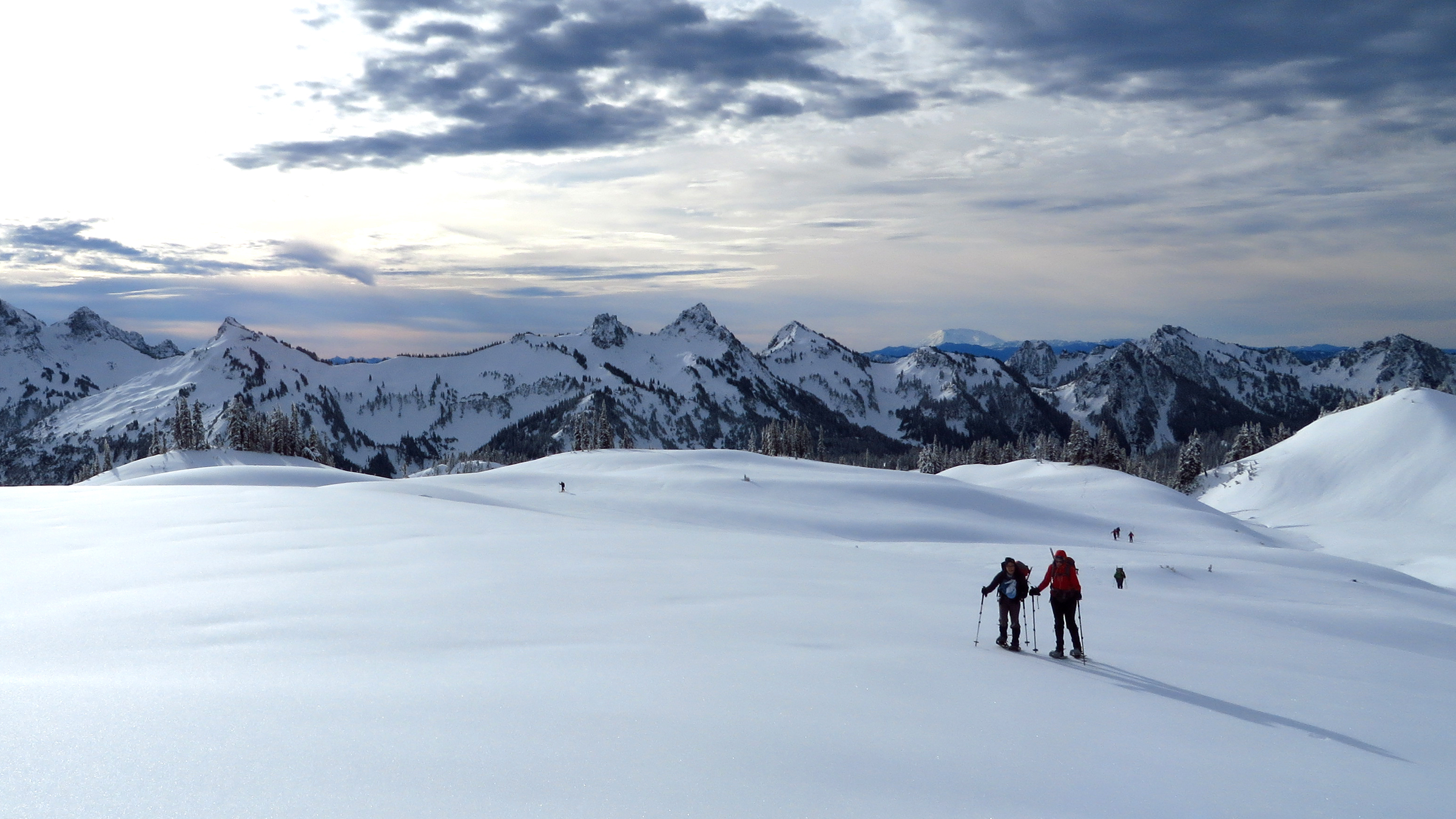 Mt. Rainier National Park is ideal for snowshoers or anyone looking for a great view of the Tatoosh range.
